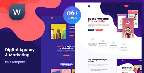 Wekala | Digital Agency & Marketing PSD Template