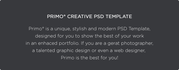 Primo° - Creative Portfolio PSD Template - 2