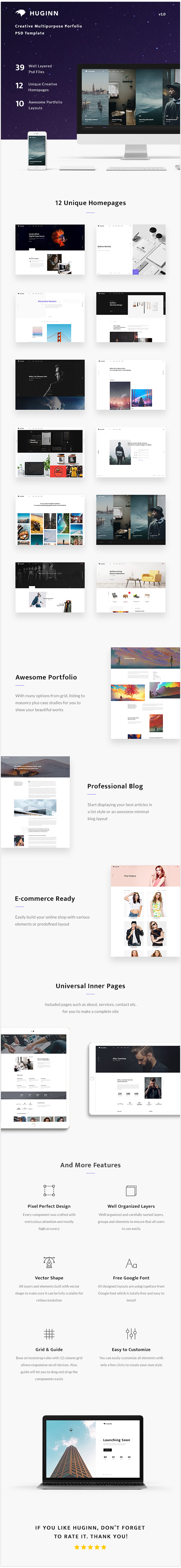 Huginn - Creative Multi-Purpose Portfolio PSD Template - 1