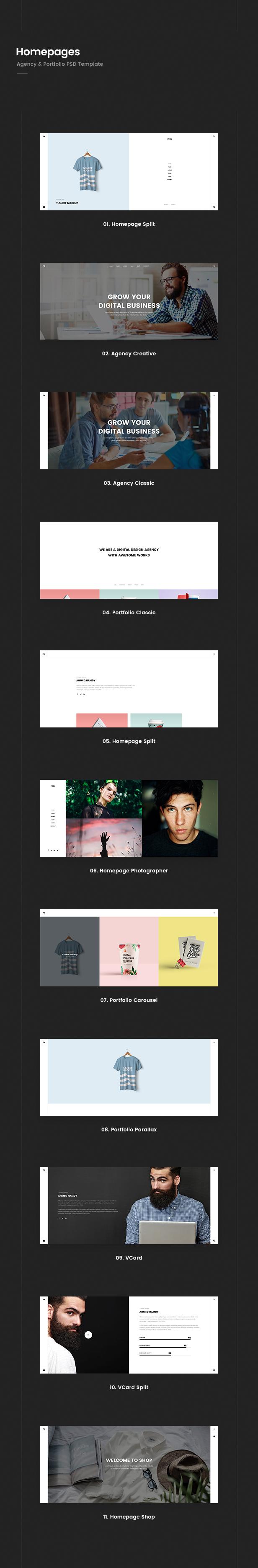 Prex | Creative Agency & Portfolio PSD Template - 1