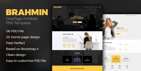 Brahmin: One Page Portfolio PSD Template