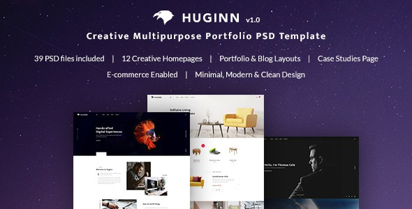 Huginn - Creative Multi-Purpose Portfolio PSD Template