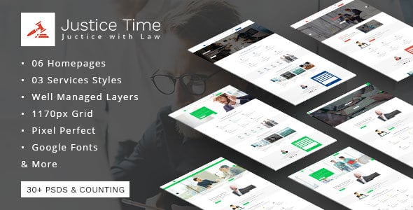 Justice Time - Law Firm and Lawyer PSD Template