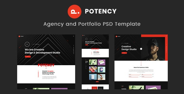 Potency - Creative Agency And Portfolio PSD Template