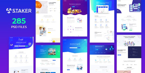 Staker - Creative Agency, Landing Page & Multipurpose PSD Template