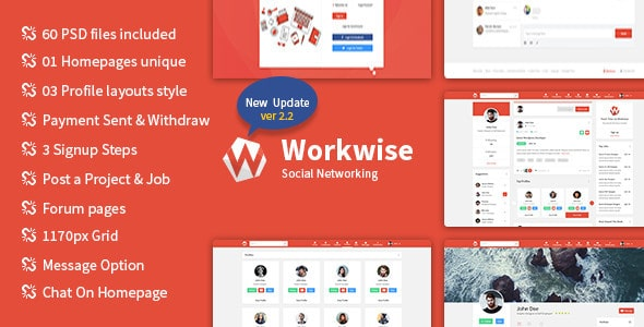 Workwise - The Freelancer And Social Networking PSD Template