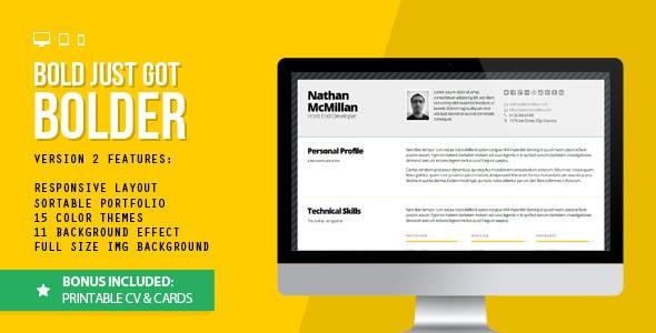 Bold 2 - Better Responsive Resume/CV (Print Bonus)
