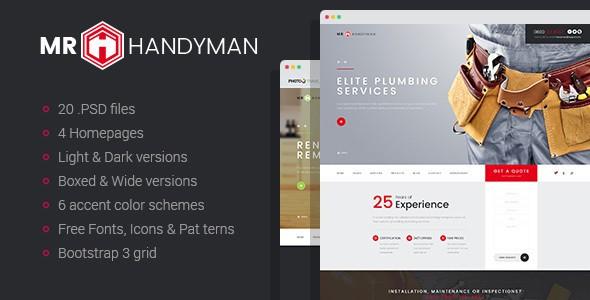 Mr.Handyman - Plumber, Carpenter, Roofing, Renovation, etc. PSD template