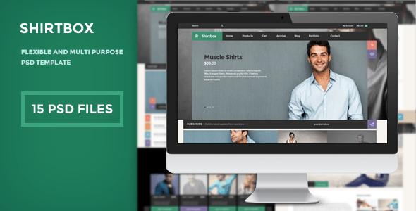 ShirtBox - Flat Design & Multipupose PSD Template