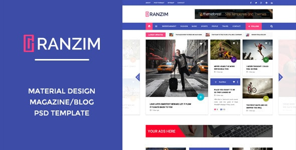 Ranzim - Material Design Blog PSD Template