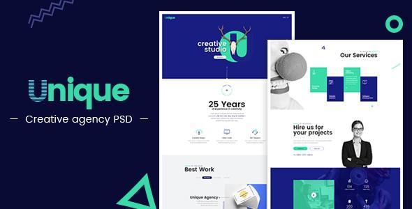 Unique - Creative Agency Landing Page PSD