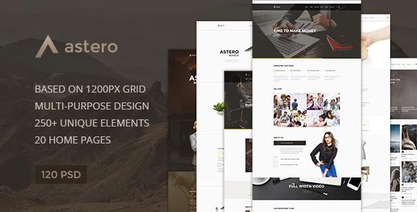 Astero — Multipurpose Portfolio | Blog | Store PSD Template