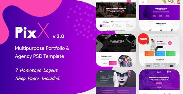 PixX — Multipurpose Portfolio & Agency PSD Template