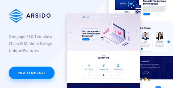 Arsido - One Page Creative Agency PSD Template