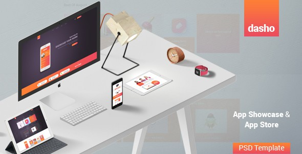Dasho - App Showcase & App Store PSD Template