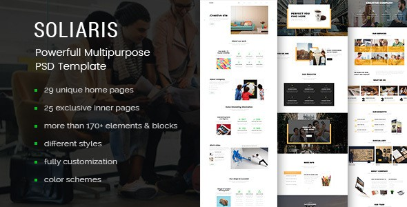 Soliaris - 60 Pages Business PSD Template
