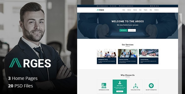 Arges Corporate - Business, Professional and Consulting Services PSD Template