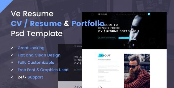 Ve Resume - CV / Resume / Vcard & Portfolio PSD Template