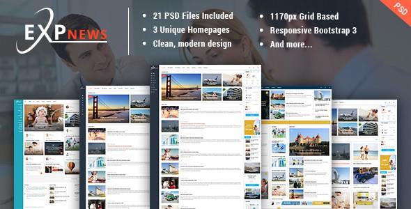 ExpNews - News & Magazine PSD Template