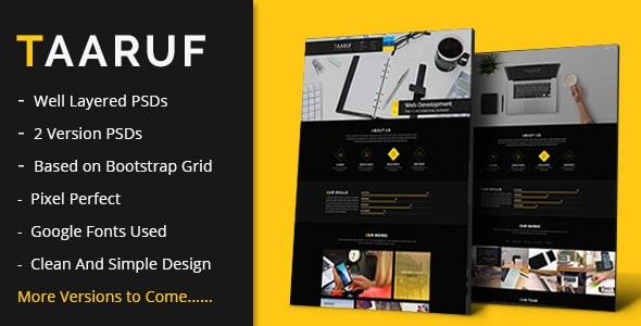 Taaruf Agency Portfolio Single and Multi Page PSD Template