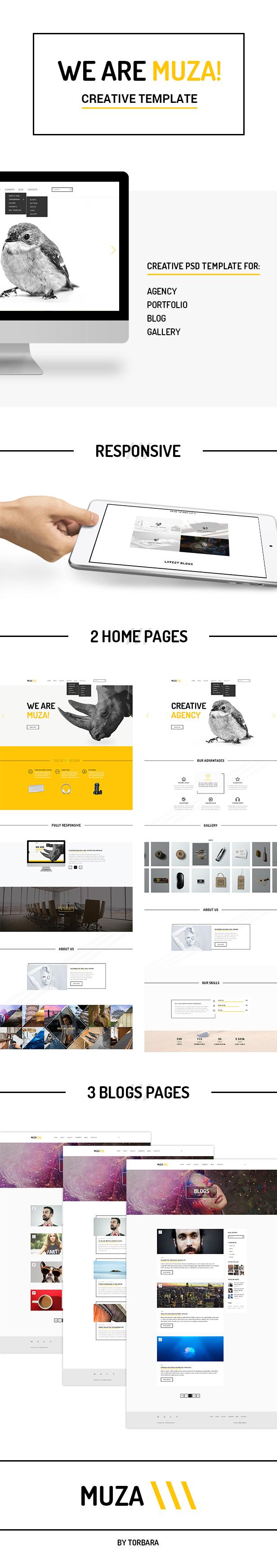 Muza — Creative Portfolio or Agency PSD Template - 2