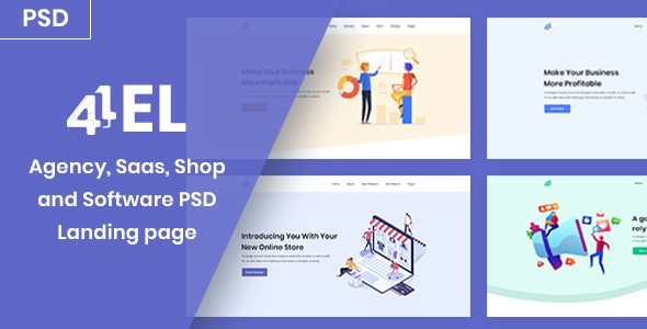 4EL - Agency, Saas, Shop and Software PSD Landing page
