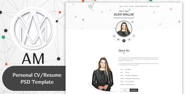 AM- Personal CV / Resume & Portfolio  Template