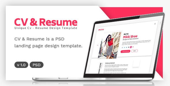 CV and Resume Landing Page
