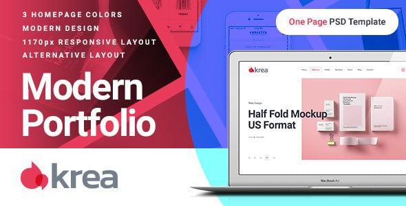 Krea - Modern Portfolio One Page PSD Web Template