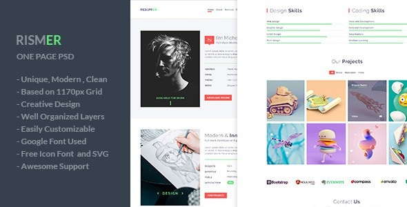 Rismer - One Page Resume and Portfolio PSD Template