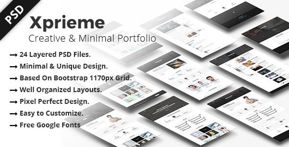 Xprieme - Creative and Minimal Portfolio PSD Template.