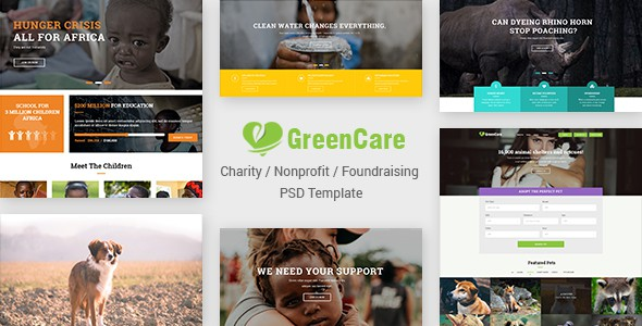 GreenCare | Charity, Nonprofit, Foundation PSD Template
