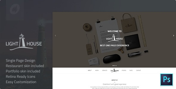 Lighthouse | Single Page PSD Template