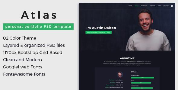 Atlas - Personal Portfolio PSD Template