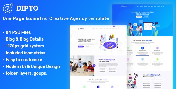DIPTO - One Page Isometric Creative Agency Template