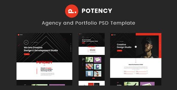 Potency - Creative Agency And Portfolio PSD Template