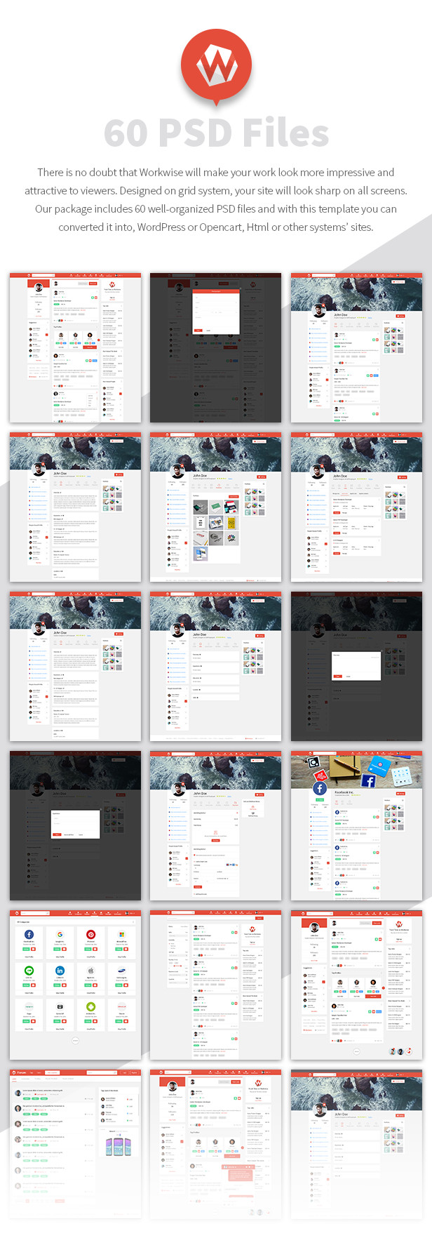 Workwise - The Freelancer And Social Networking PSD Template - 3